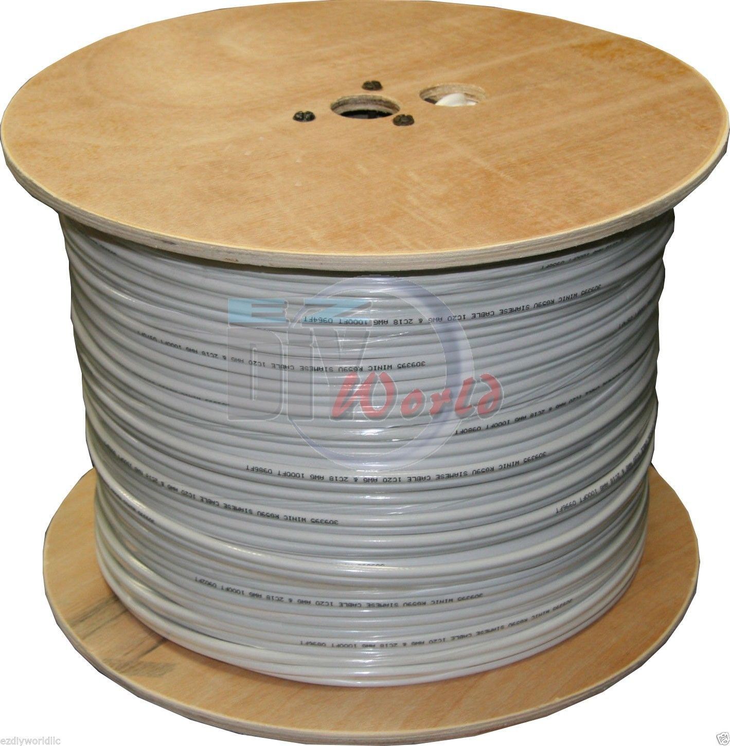Solid Copper Core 1000 ft spool RG59 Siamese Cable CCTV Video-W