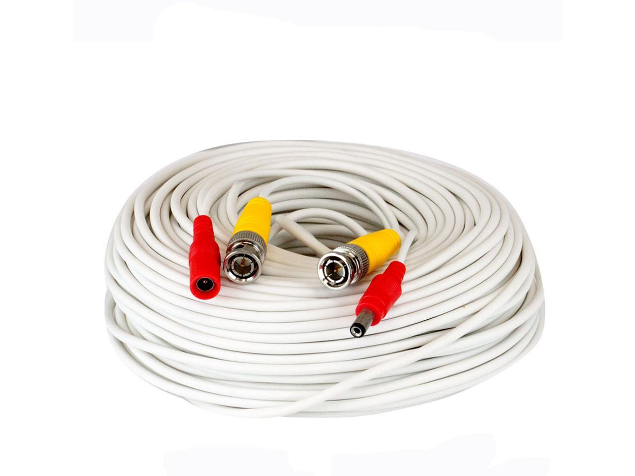 All in one 50ft HEAVY DUTY PREMADE SIAMESE CABLE White color