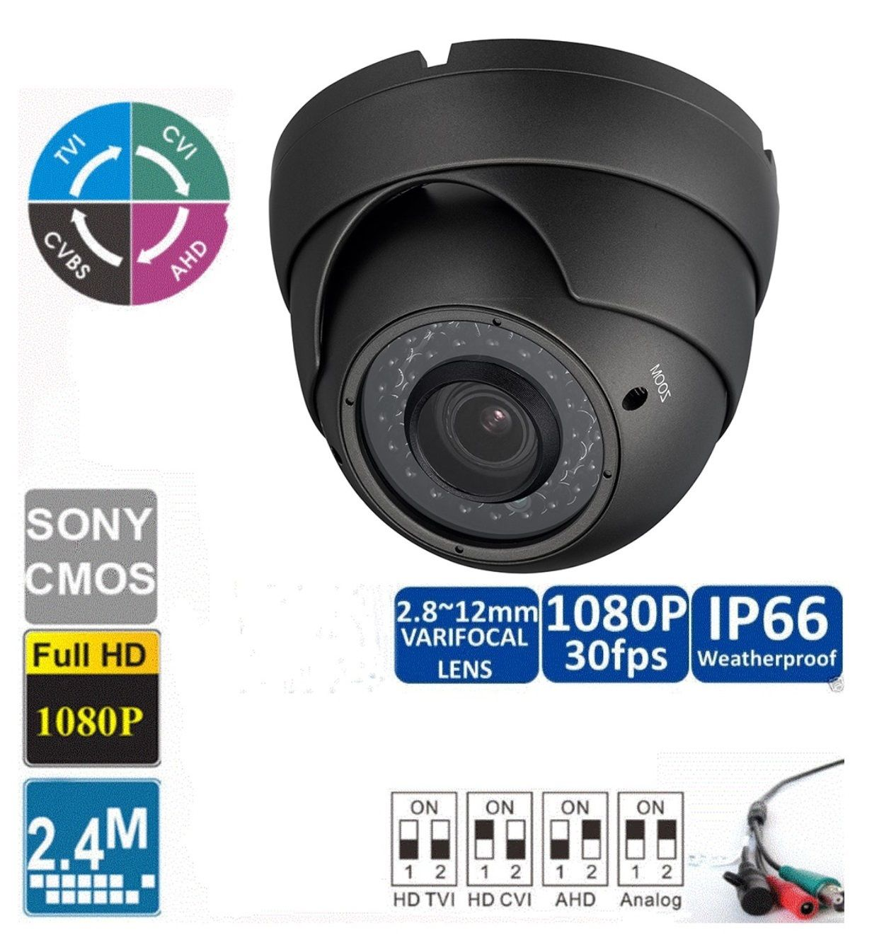 HD CVI 1080P Dome Camera 2MP HDCVI Sony Varifocal 2.8-12mm Gray