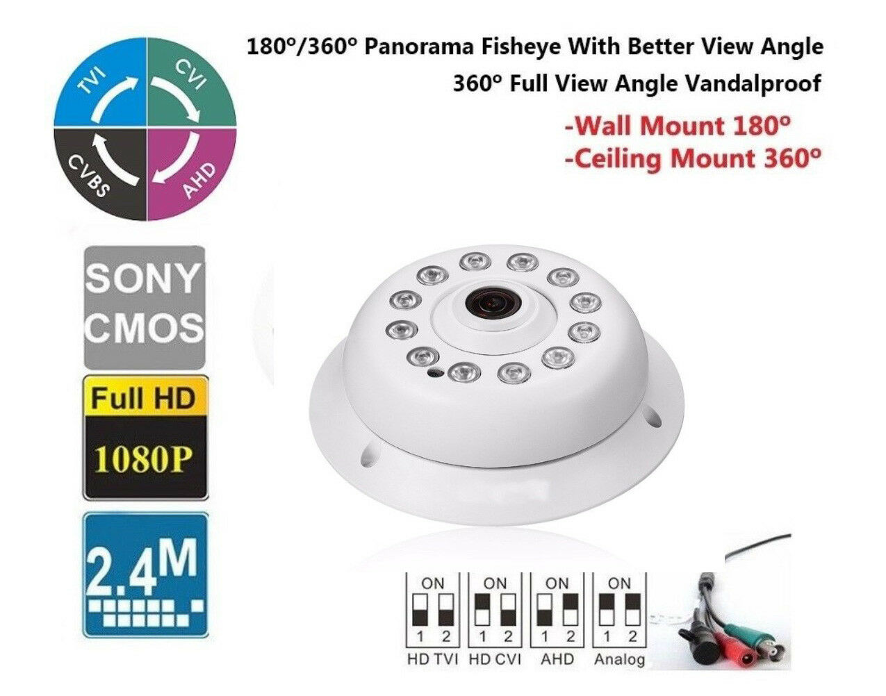 CVI/TVI/AHD/CVBS HD 180/360 Degree Fisheye Lens 1080P 2.4MP IR