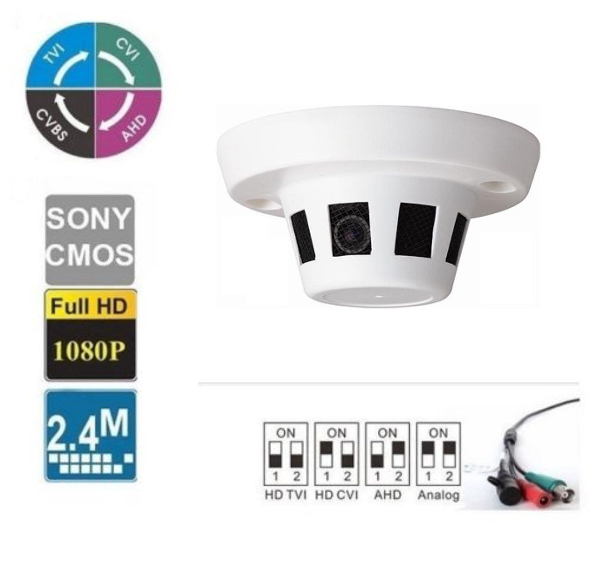 Smoke Detector Hidden Camera HD-TVI Analog HD 2.4MP 1080p