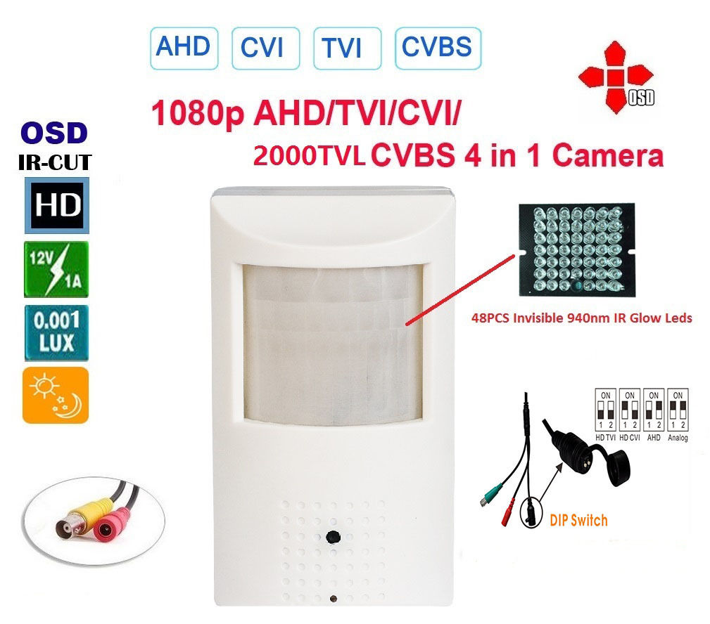 2.4MP HD TVI/CVI/AHD/CVBS 1080P 3.7mm Lens Small PIR Covert